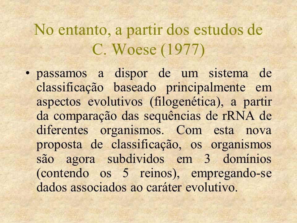 No entanto, a partir dos estudos de C. Woese (1977)