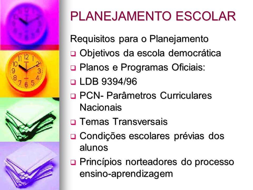PLANEJAMENTO ESCOLAR Requisitos para o Planejamento