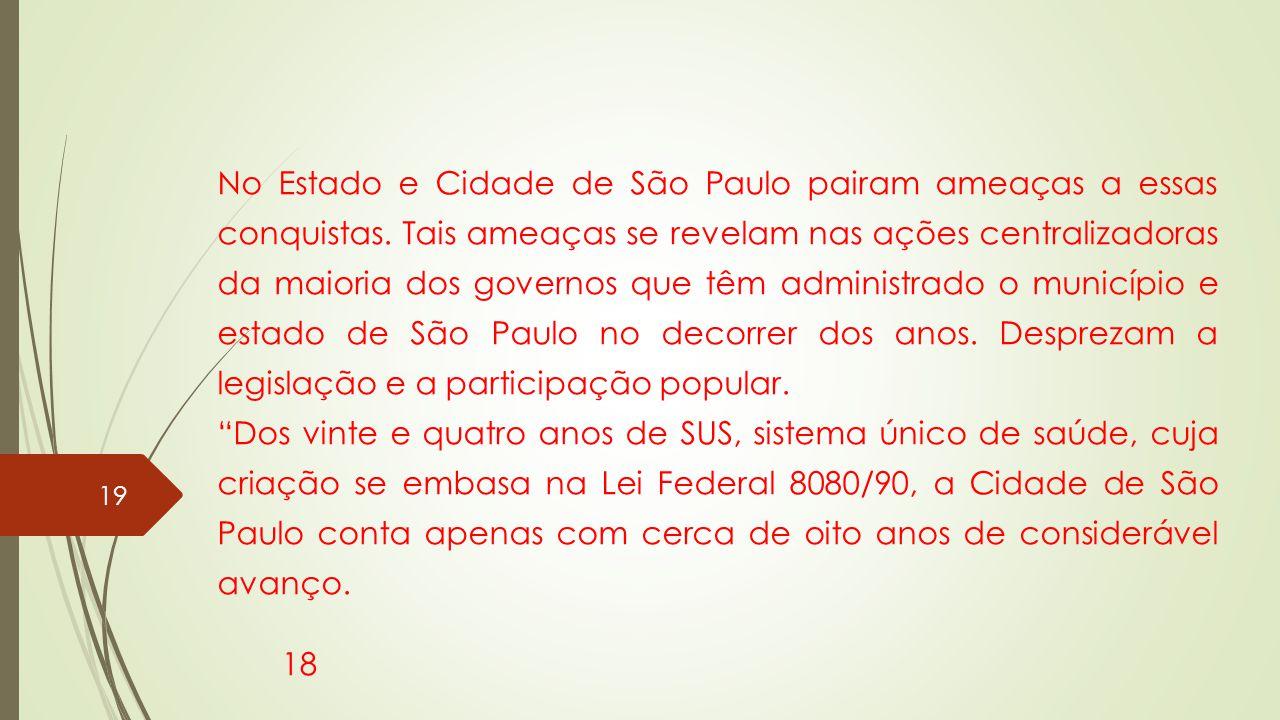 No Estado e Cidade de São Paulo pairam ameaças a essas conquistas