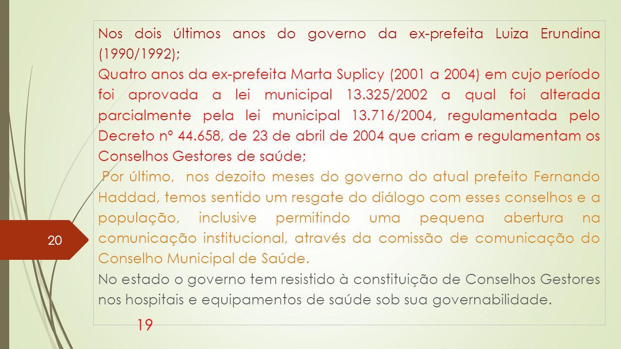 Nos dois últimos anos do governo da ex-prefeita Luiza Erundina (1990/1992);