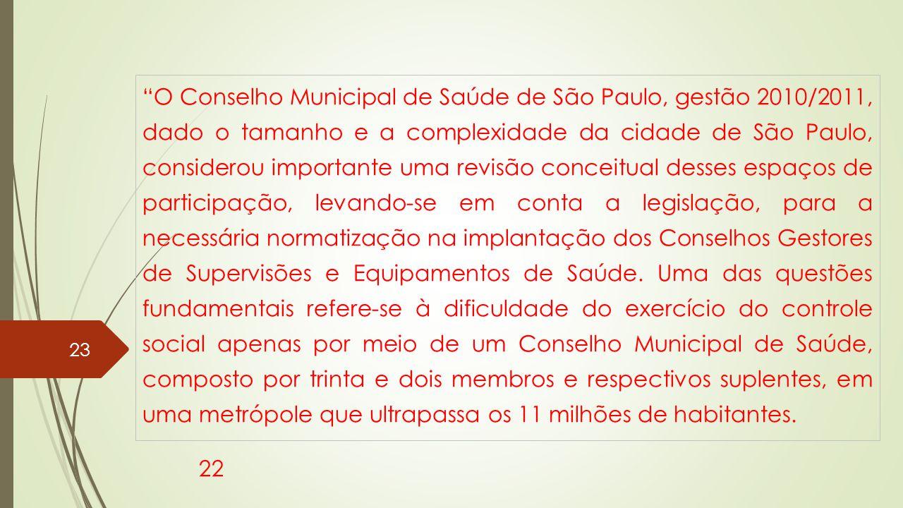 O Conselho Municipal de Saúde de São Paulo, gestão 2010/2011, dado o tamanho e a complexidade da cidade de São Paulo, considerou importante uma revisão conceitual desses espaços de participação, levando-se em conta a legislação, para a necessária normatização na implantação dos Conselhos Gestores de Supervisões e Equipamentos de Saúde. Uma das questões fundamentais refere-se à dificuldade do exercício do controle social apenas por meio de um Conselho Municipal de Saúde, composto por trinta e dois membros e respectivos suplentes, em uma metrópole que ultrapassa os 11 milhões de habitantes.