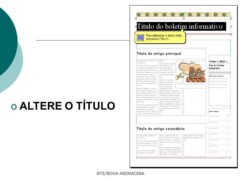 ALTERE O TÍTULO NTE/NOVA ANDRADINA