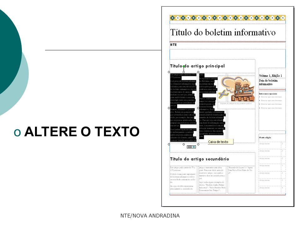 ALTERE O TEXTO NTE/NOVA ANDRADINA