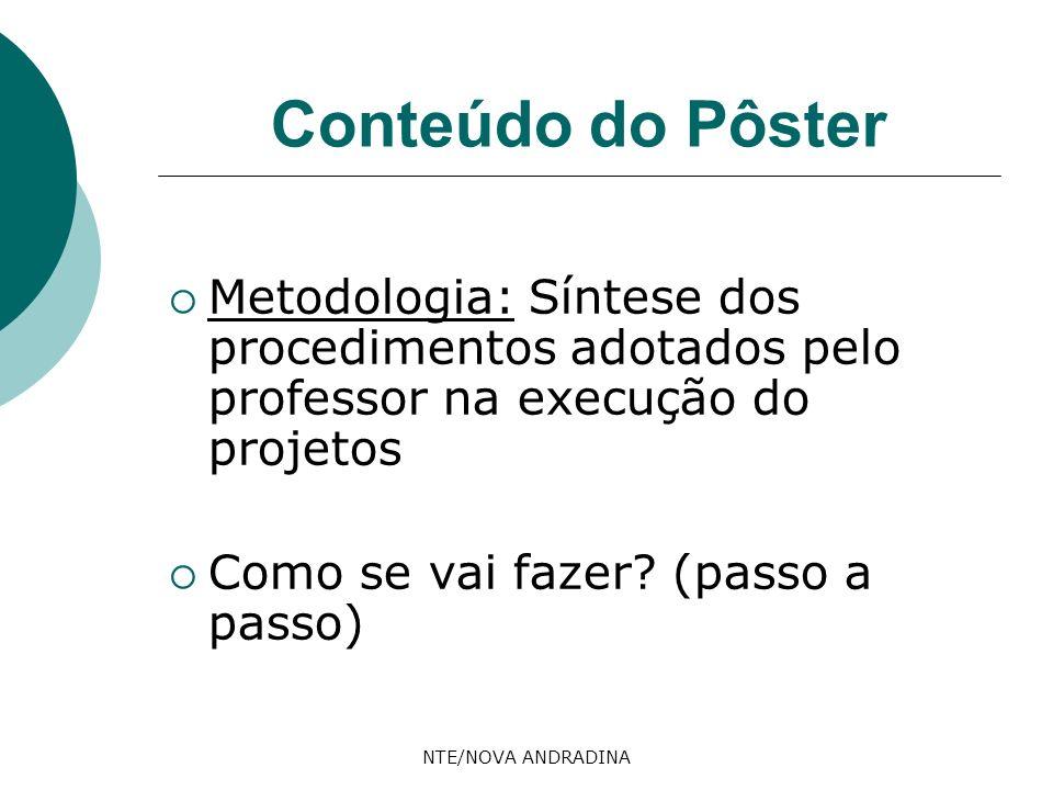 Conteúdo do Pôster Metodologia: Síntese dos procedimentos adotados pelo professor na execução do projetos.