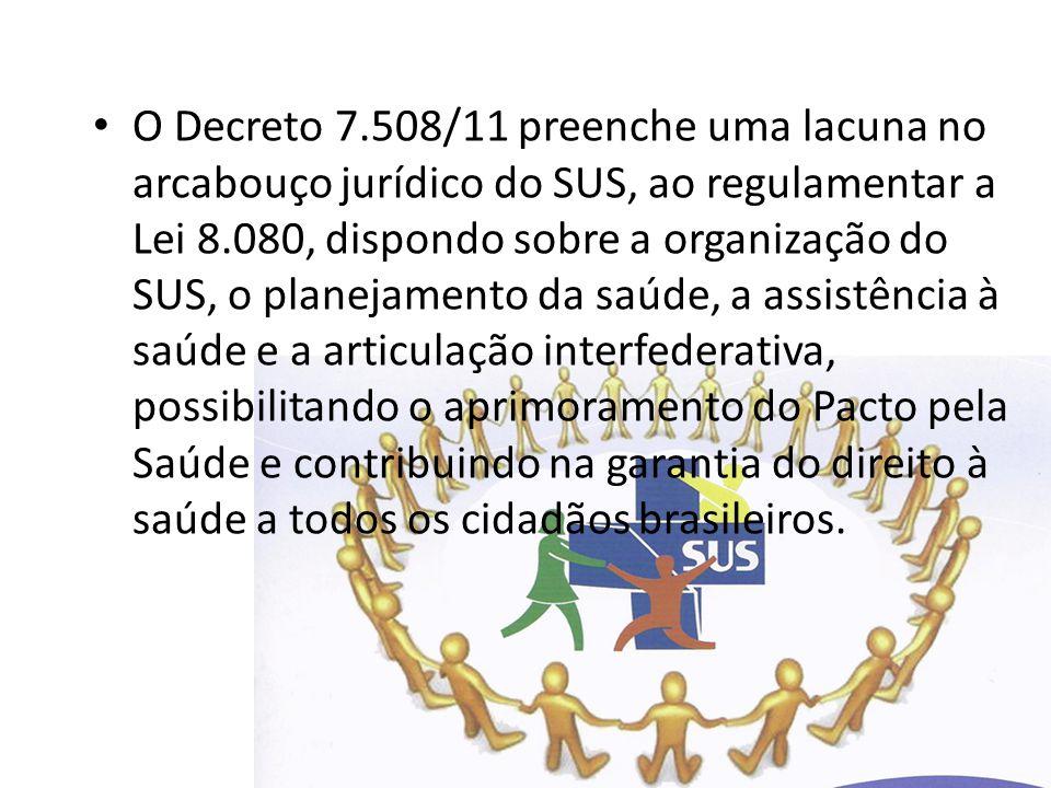O Decreto 7.508/11 preenche uma lacuna no arcabouço jurídico do SUS, ao regulamentar a Lei 8.080, dispondo sobre a organização do SUS, o planejamento da saúde, a assistência à saúde e a articulação interfederativa, possibilitando o aprimoramento do Pacto pela Saúde e contribuindo na garantia do direito à saúde a todos os cidadãos brasileiros.
