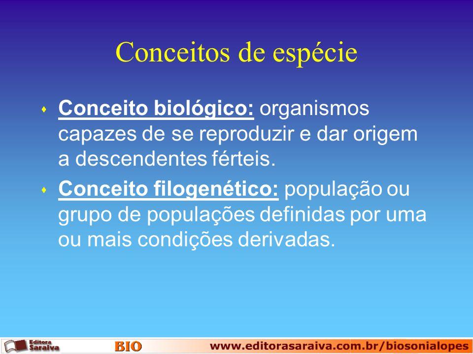 Conceitos de espécie Conceito biológico: organismos capazes de se reproduzir e dar origem a descendentes férteis.
