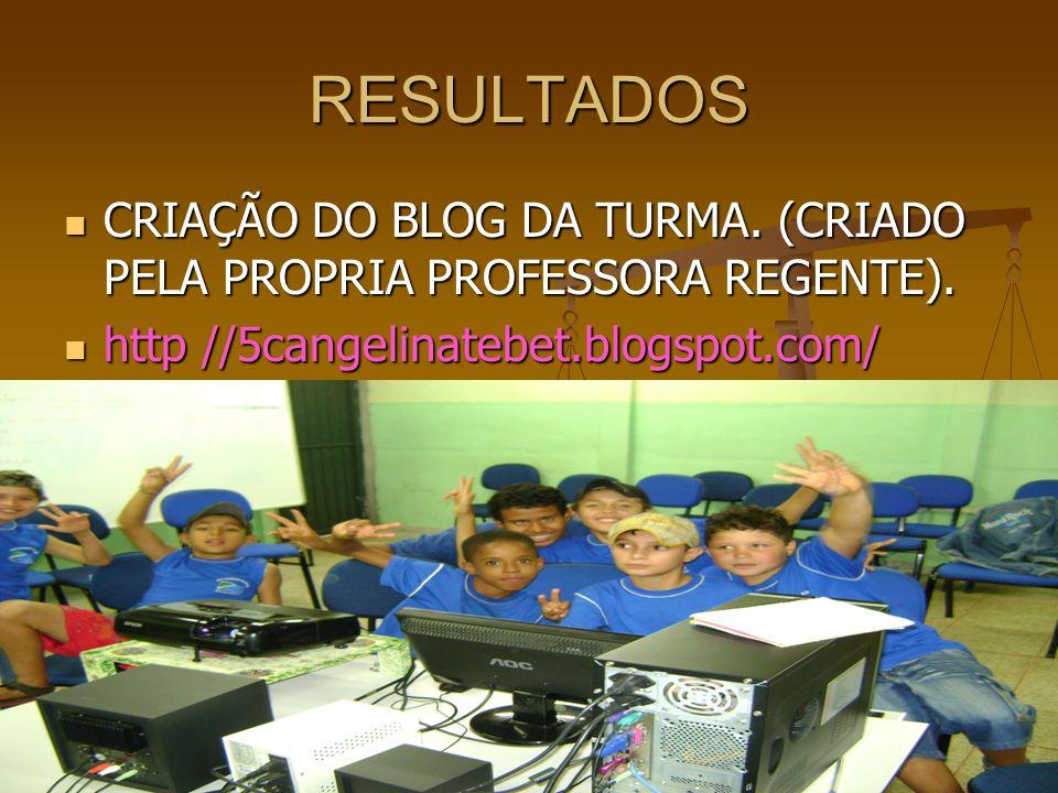 RESULTADOS CRIAÇÃO DO BLOG DA TURMA. (CRIADO PELA PROPRIA PROFESSORA REGENTE).
