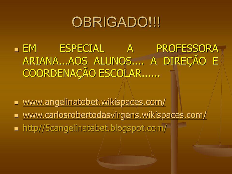 OBRIGADO!!!EM ESPECIAL A PROFESSORA ARIANA...AOS ALUNOS.... A DIREÇÃO E COORDENAÇÃO ESCOLAR...... www.angelinatebet.wikispaces.com/