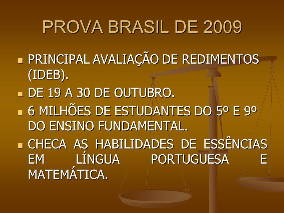 PROVA BRASIL DE 2009 PRINCIPAL AVALIAÇÃO DE REDIMENTOS (IDEB).
