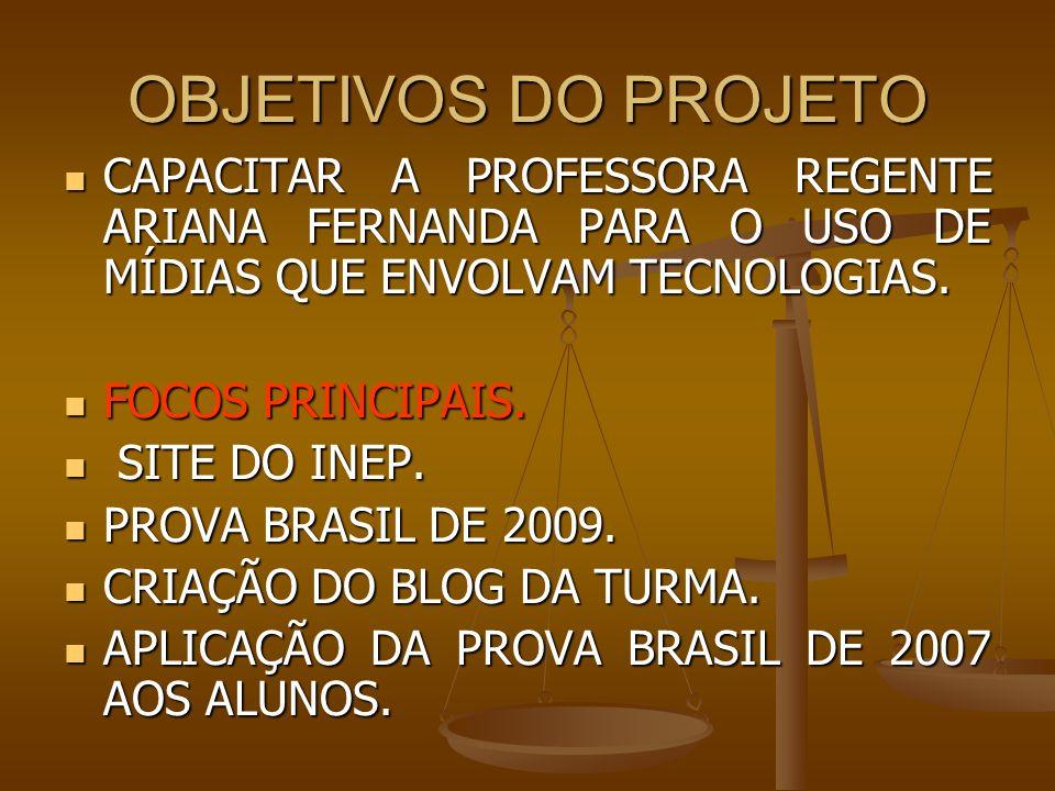 OBJETIVOS DO PROJETO CAPACITAR A PROFESSORA REGENTE ARIANA FERNANDA PARA O USO DE MÍDIAS QUE ENVOLVAM TECNOLOGIAS.