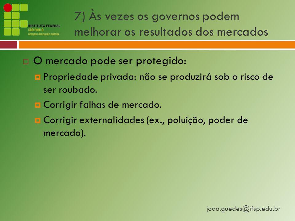 7) Às vezes os governos podem melhorar os resultados dos mercados