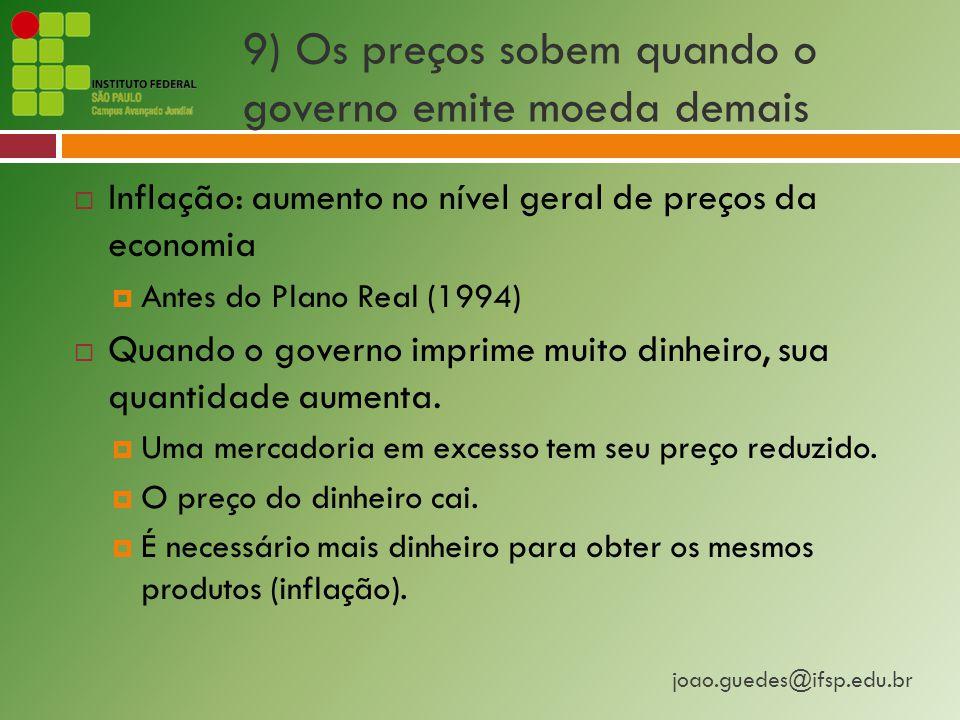 9) Os preços sobem quando o governo emite moeda demais
