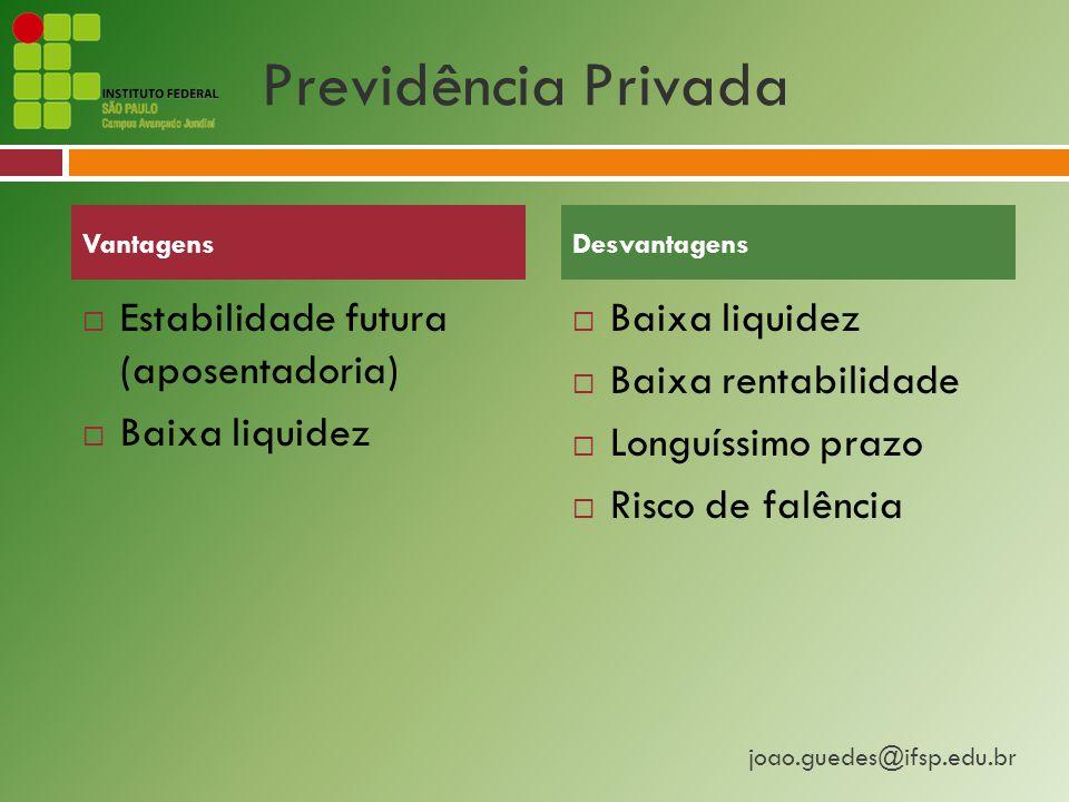 Previdência Privada Estabilidade futura (aposentadoria) Baixa liquidez