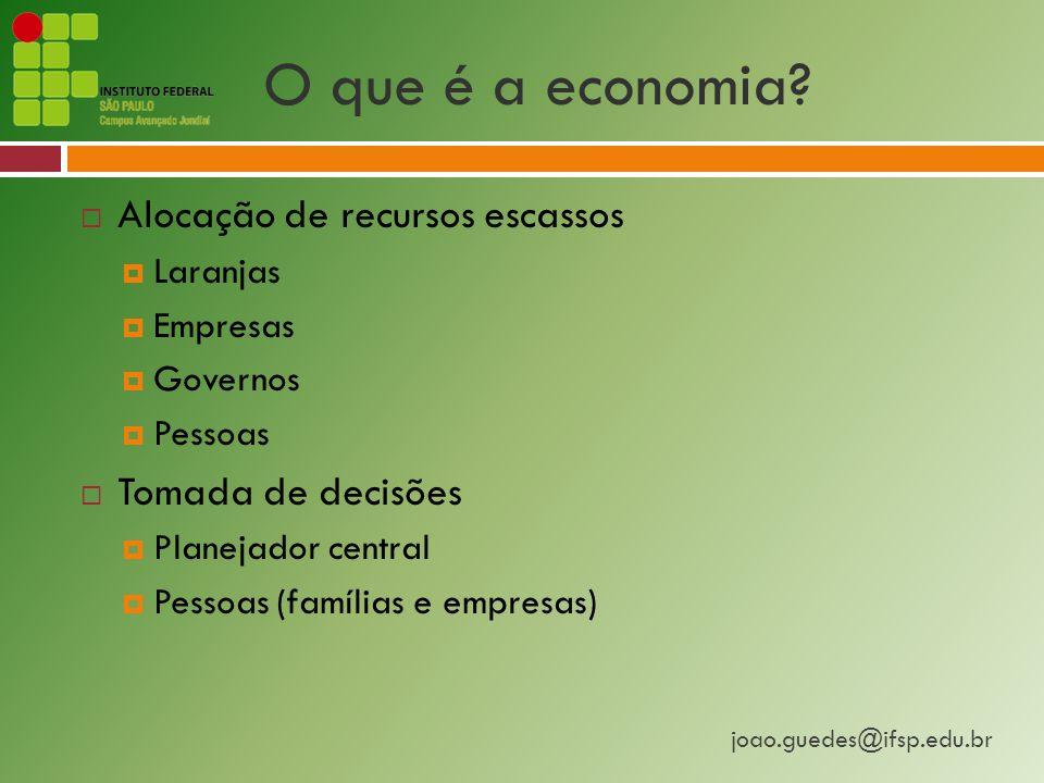 O que é a economia Alocação de recursos escassos Tomada de decisões