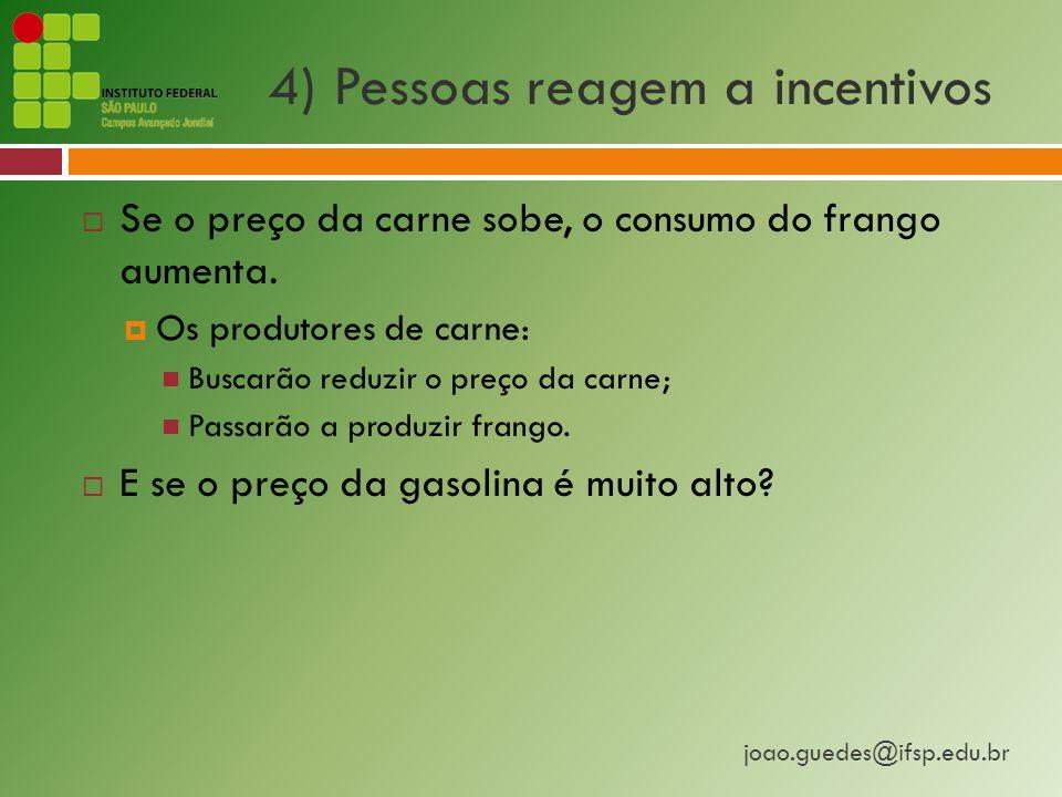 4) Pessoas reagem a incentivos