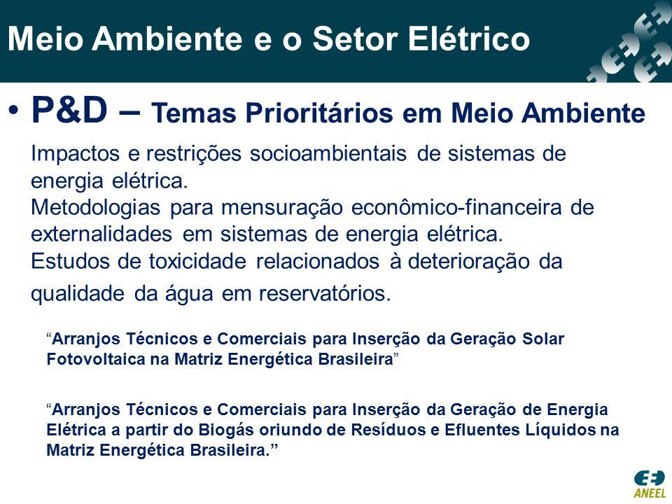 P&D – Temas Prioritários em Meio Ambiente