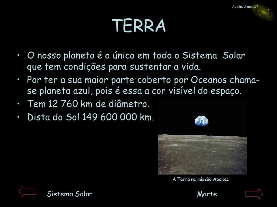 Adelino AlmeidaTERRA. O nosso planeta é o único em todo o Sistema Solar que tem condições para sustentar a vida.