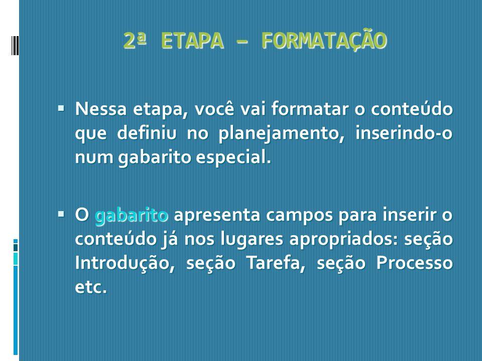 2ª ETAPA – FORMATAÇÃONessa etapa, você vai formatar o conteúdo que definiu no planejamento, inserindo-o num gabarito especial.