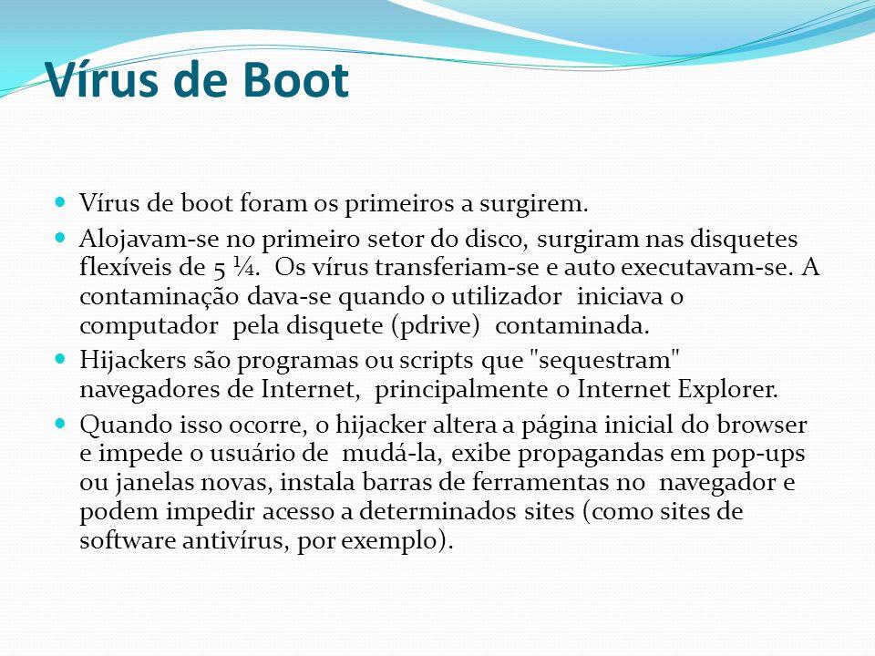 Vírus de Boot Vírus de boot foram os primeiros a surgirem.