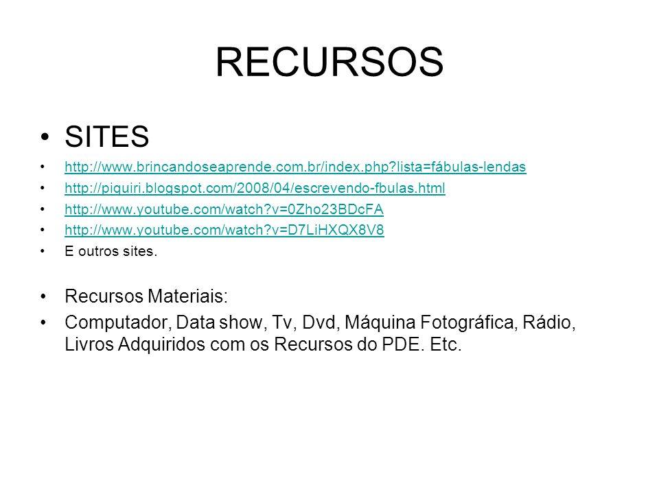 RECURSOS SITES Recursos Materiais: