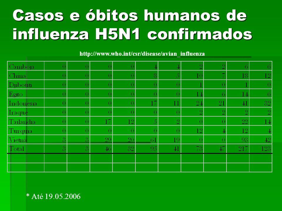 Casos e óbitos humanos de influenza H5N1 confirmados
