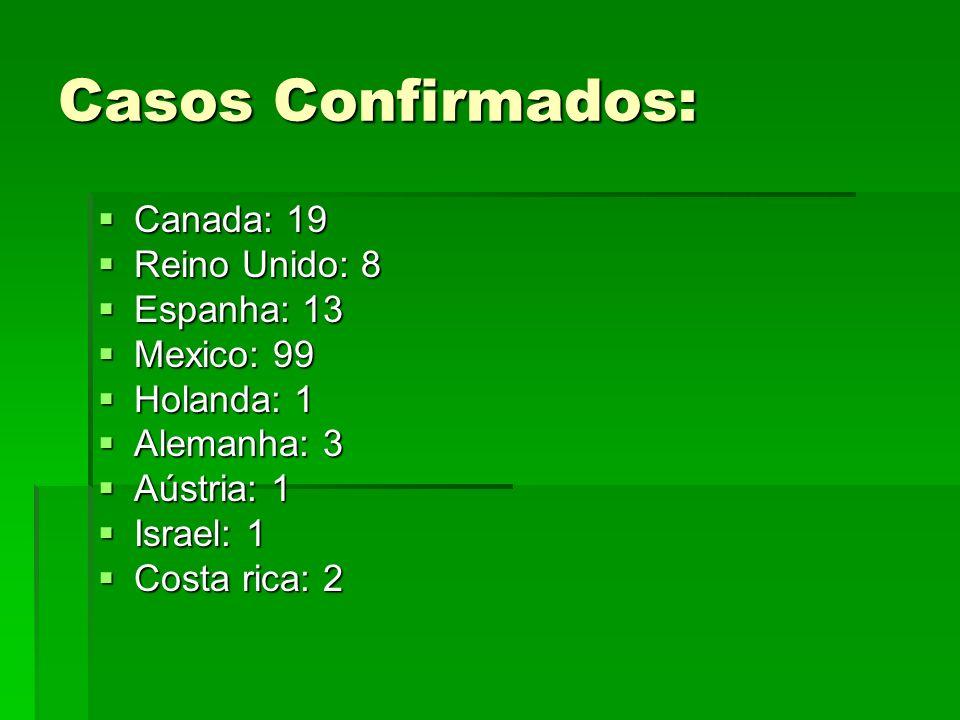Casos Confirmados: Canada: 19 Reino Unido: 8 Espanha: 13 Mexico: 99