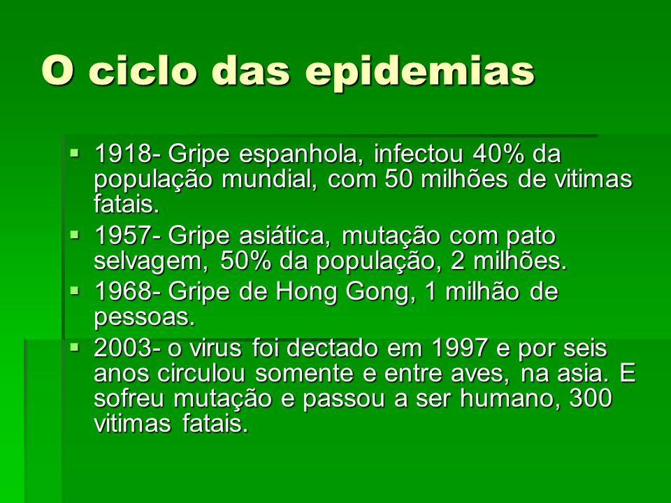 O ciclo das epidemias 1918- Gripe espanhola, infectou 40% da população mundial, com 50 milhões de vitimas fatais.