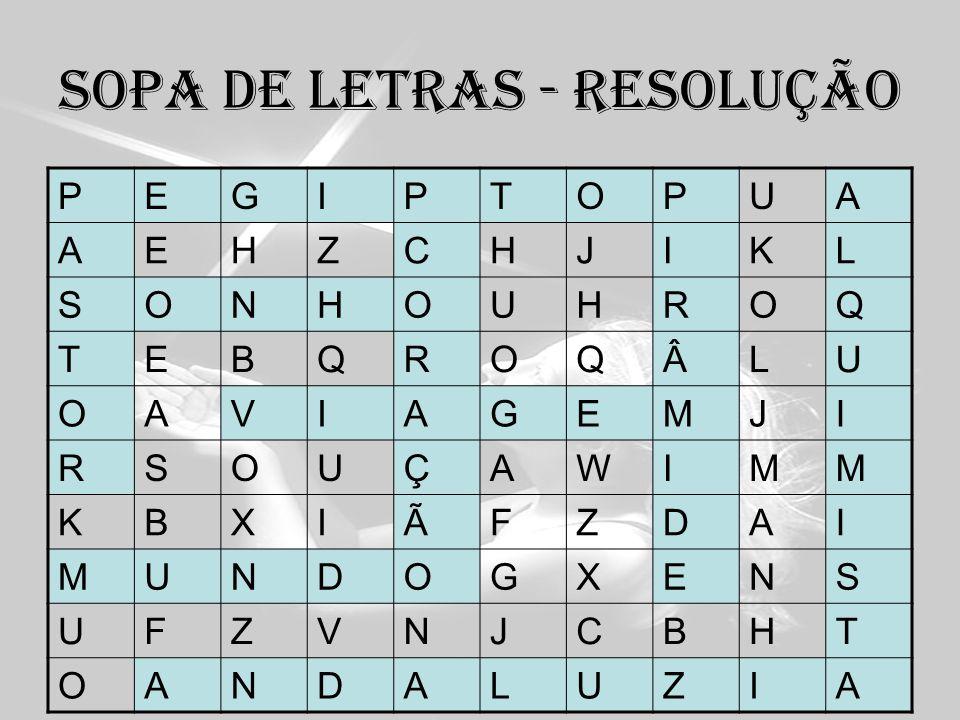 Sopa de letras - resolução