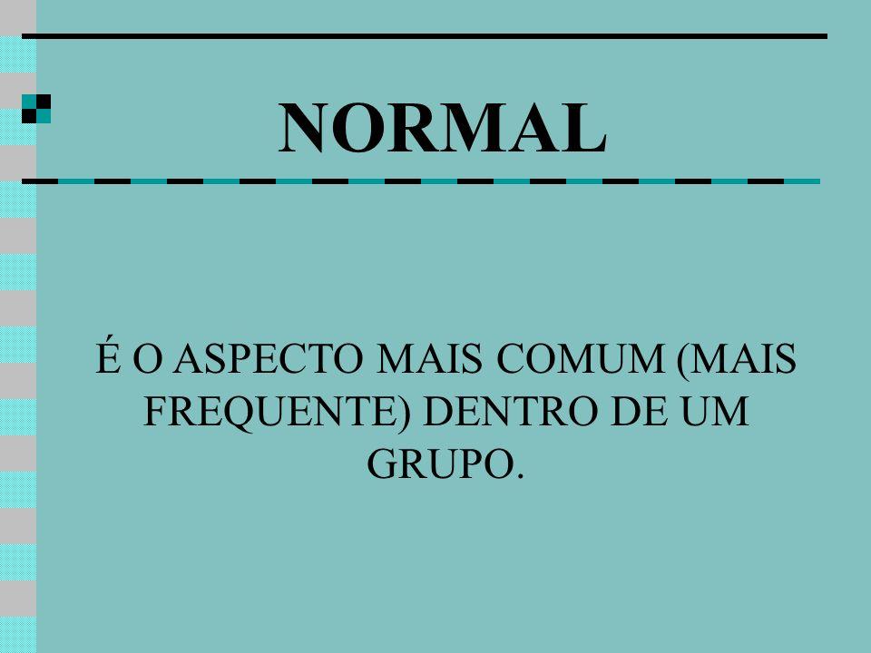 É O ASPECTO MAIS COMUM (MAIS FREQUENTE) DENTRO DE UM GRUPO.