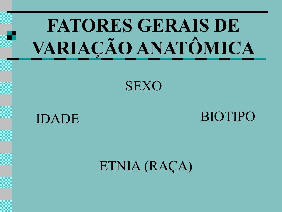 FATORES GERAIS DE VARIAÇÃO ANATÔMICA