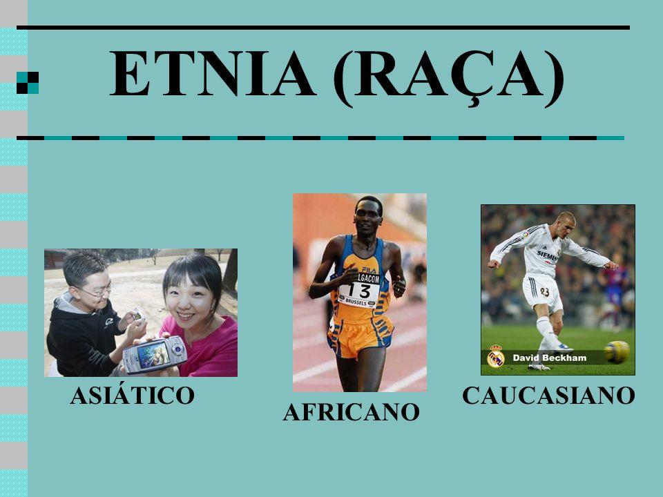 ETNIA (RAÇA) ASIÁTICO CAUCASIANO AFRICANO