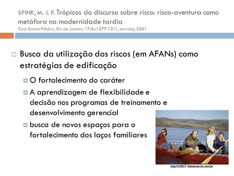 SPINK, M. J. P. Trópicos do discurso sobre risco: risco-aventura como metáfora na modernidade tardia Cad. Saúde Pública, Rio de Janeiro, 17(6):1277-1311, nov-dez, 2001