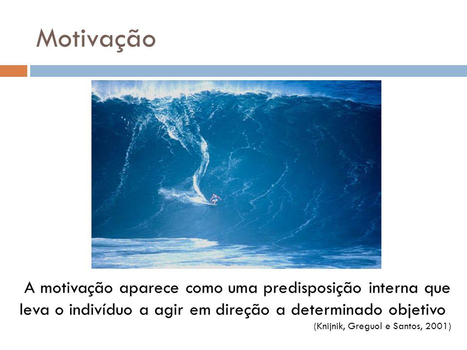 Motivação A motivação aparece como uma predisposição interna que leva o indivíduo a agir em direção a determinado objetivo.