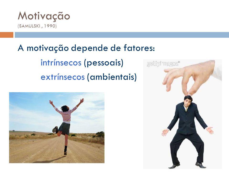 Motivação (SAMULSKI , 1990) A motivação depende de fatores: intrínsecos (pessoais) extrínsecos (ambientais)