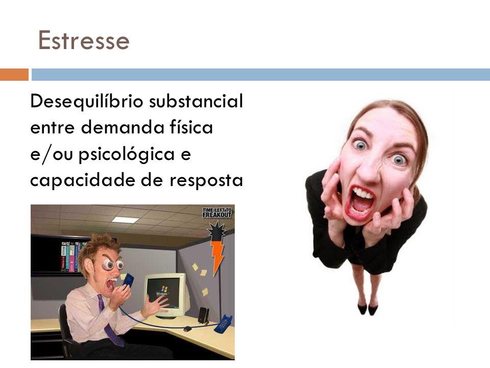 Estresse Desequilíbrio substancial entre demanda física e/ou psicológica e capacidade de resposta.