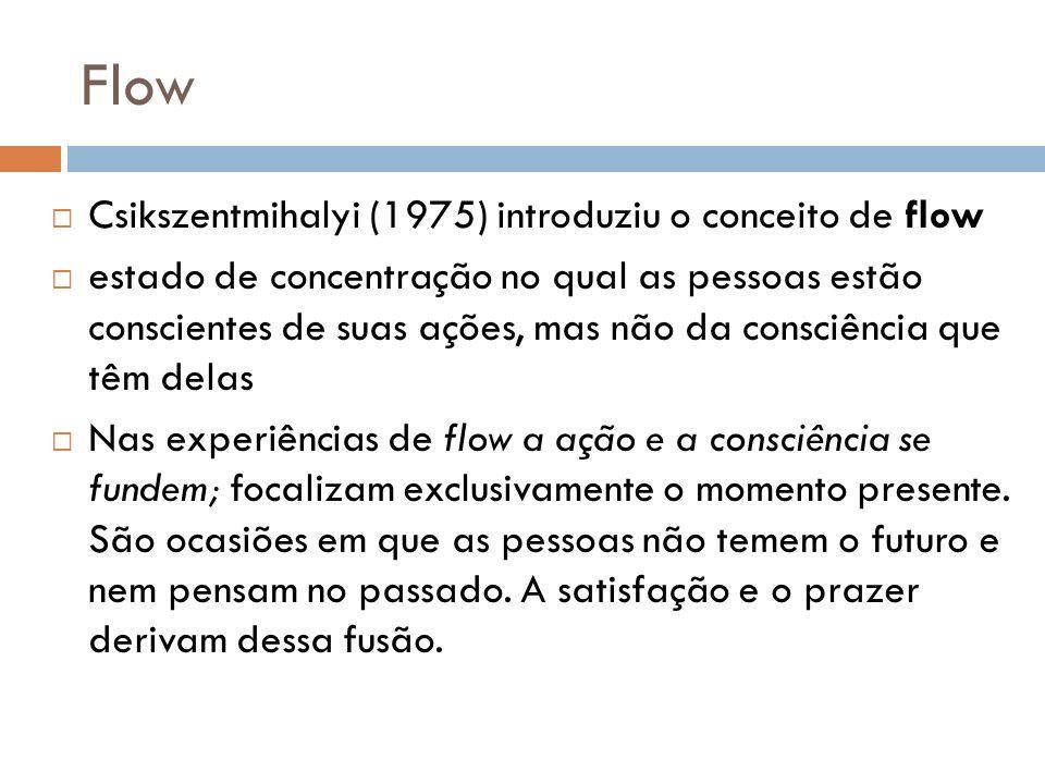 Flow Csikszentmihalyi (1975) introduziu o conceito de flow