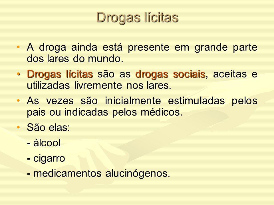Drogas lícitas A droga ainda está presente em grande parte dos lares do mundo.