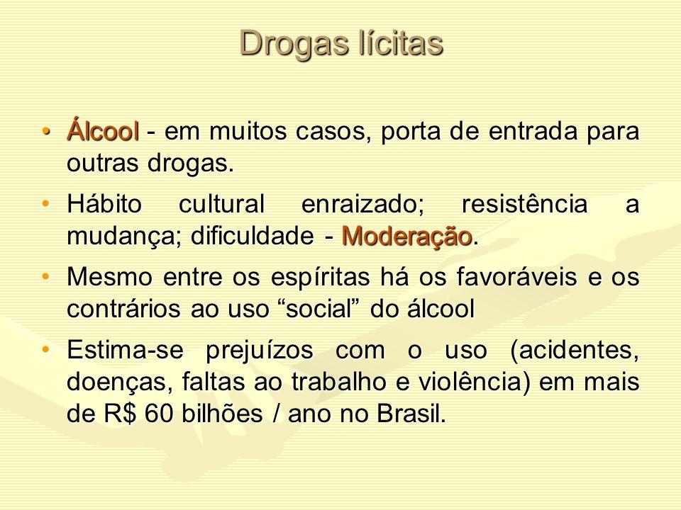 Drogas lícitas Álcool - em muitos casos, porta de entrada para outras drogas.
