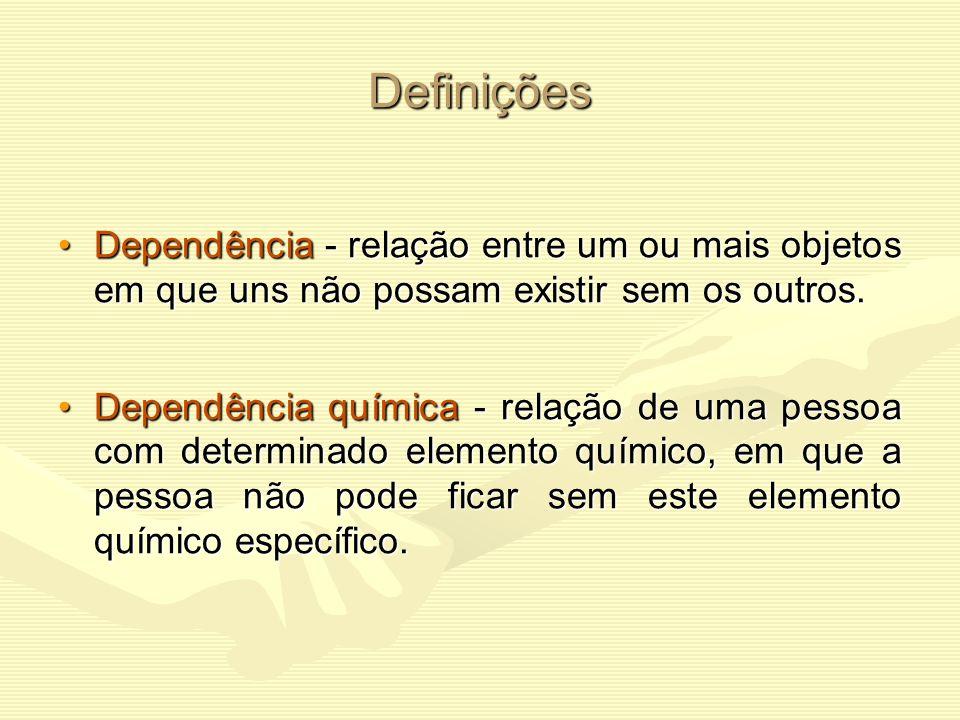 Definições Dependência - relação entre um ou mais objetos em que uns não possam existir sem os outros.