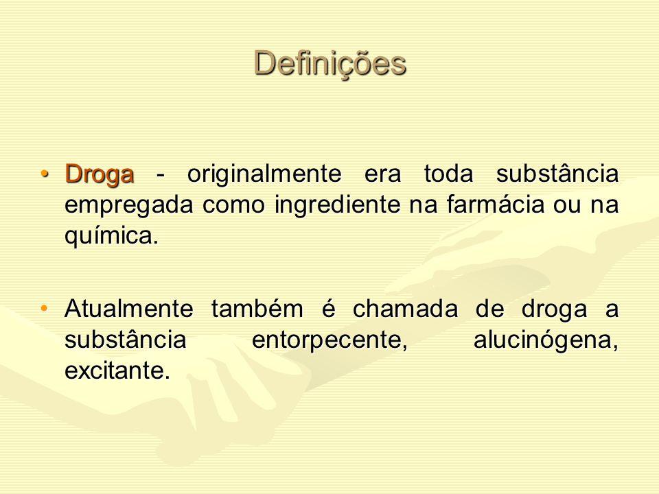 Definições Droga - originalmente era toda substância empregada como ingrediente na farmácia ou na química.