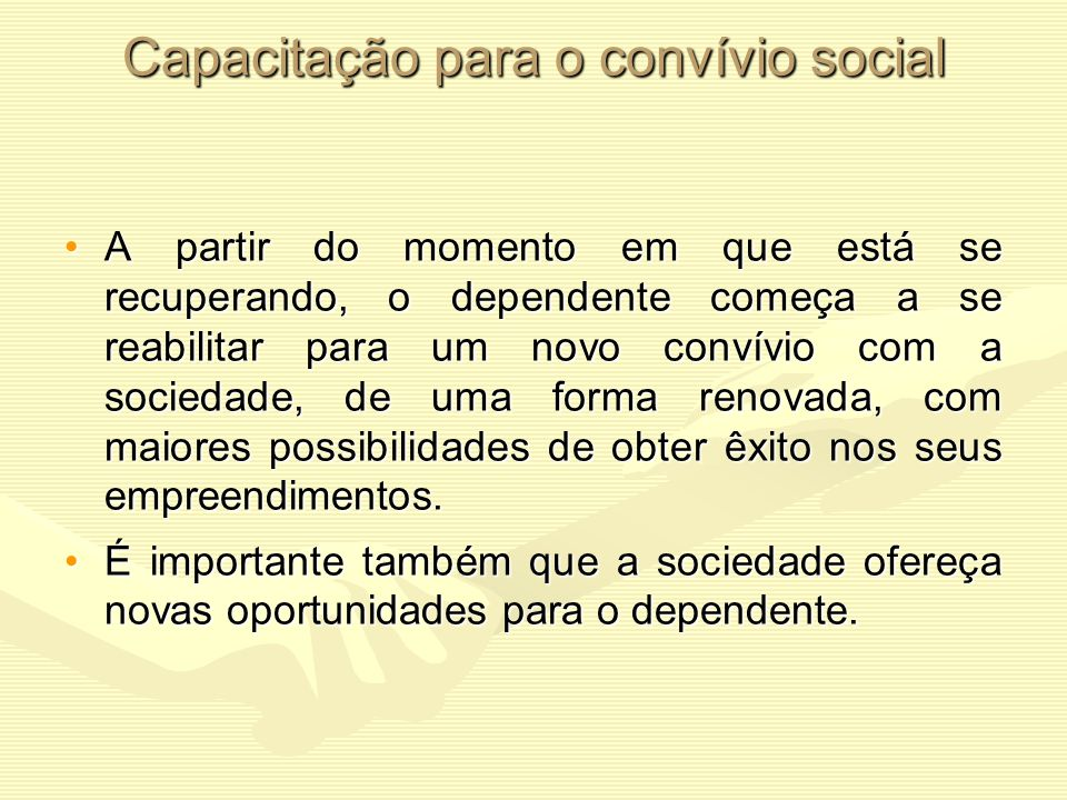 Capacitação para o convívio social
