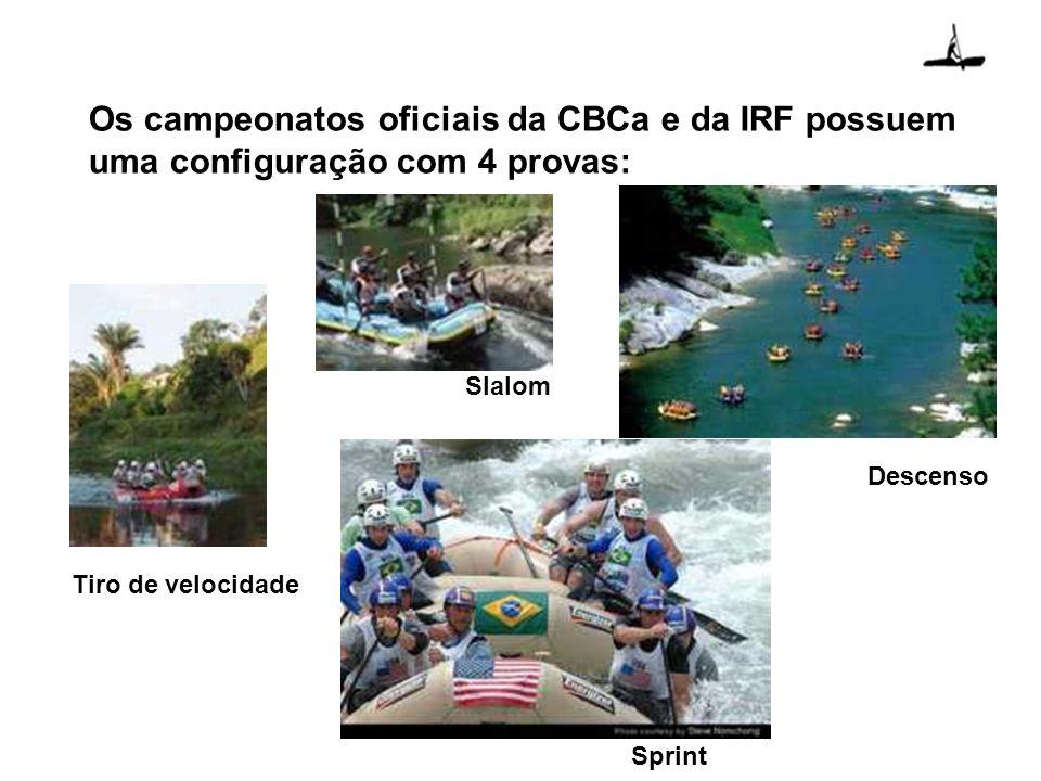 Os campeonatos oficiais da CBCa e da IRF possuem uma configuração com 4 provas:
