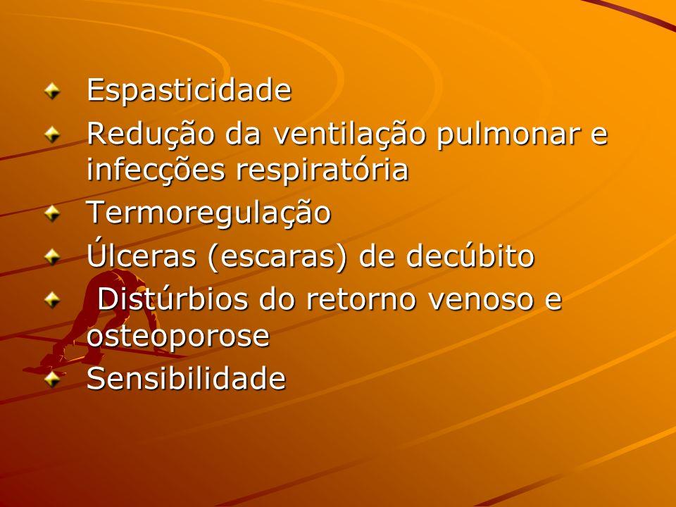 Espasticidade Redução da ventilação pulmonar e infecções respiratória. Termoregulação. Úlceras (escaras) de decúbito.