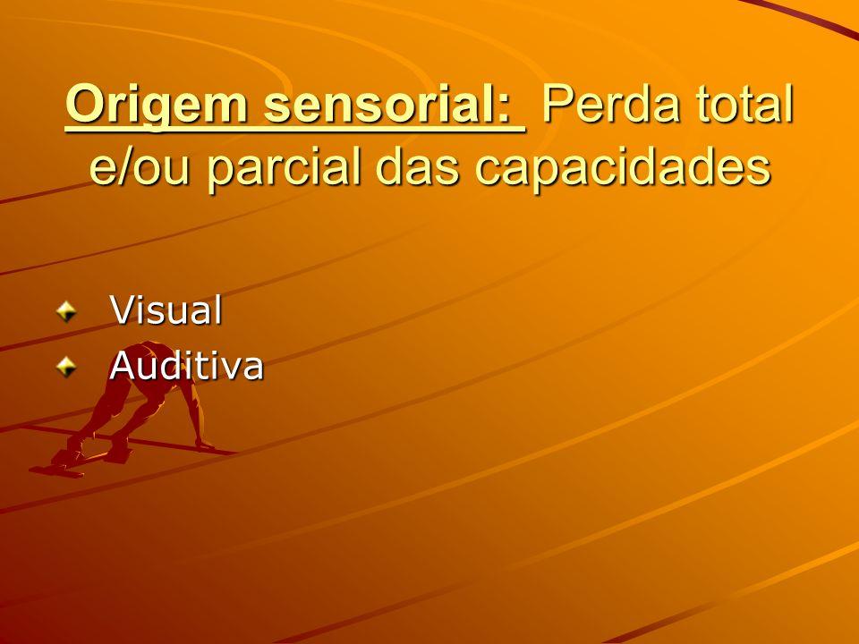 Origem sensorial: Perda total e/ou parcial das capacidades