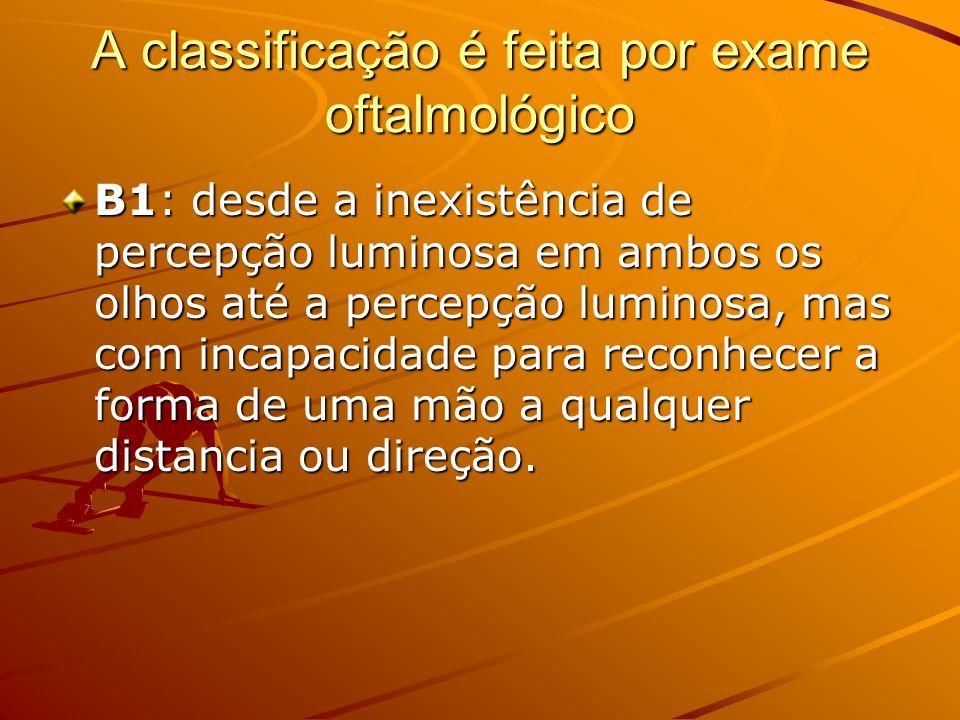 A classificação é feita por exame oftalmológico