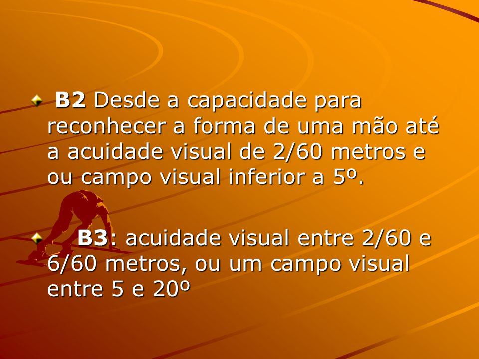 B2 Desde a capacidade para reconhecer a forma de uma mão até a acuidade visual de 2/60 metros e ou campo visual inferior a 5º.