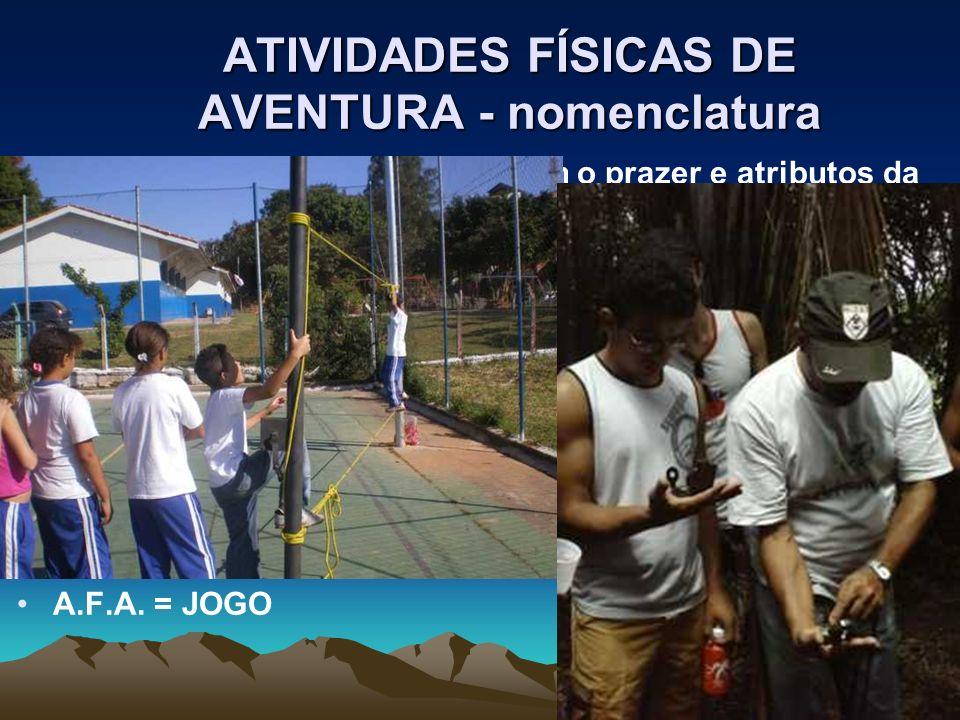 ATIVIDADES FÍSICAS DE AVENTURA - nomenclatura