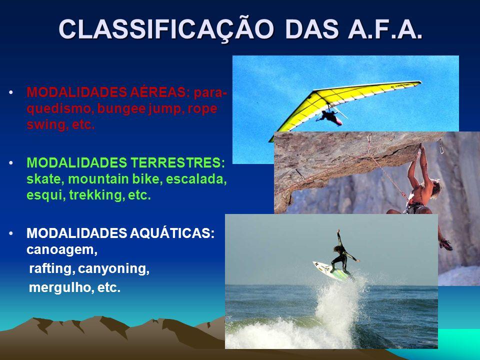 CLASSIFICAÇÃO DAS A.F.A. MODALIDADES AÉREAS: para-quedismo, bungee jump, rope swing, etc.
