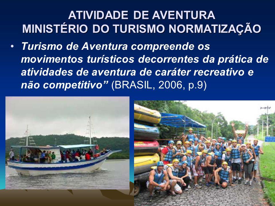 ATIVIDADE DE AVENTURA MINISTÉRIO DO TURISMO NORMATIZAÇÃO