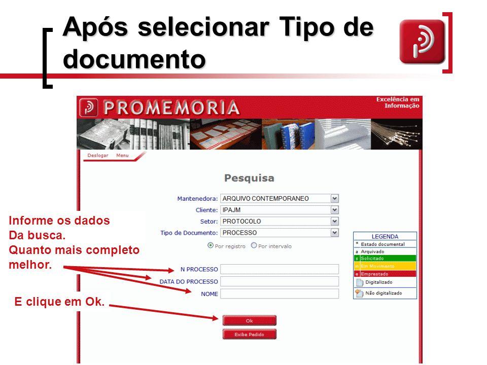 Após selecionar Tipo de documento
